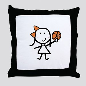 Girl & Basketball Throw Pillow