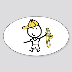 Boy & Trombone Oval Sticker