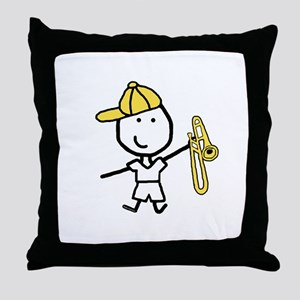 Boy & Trombone Throw Pillow