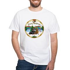 XmasMusic1/ 2 Dachshunds White T-Shirt