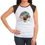 XmasMagic/2 Dachshunds Women's Cap Sleeve T-Shirt