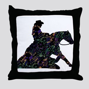 Reining Horse Sliding Stop Flowers Throw Pillow