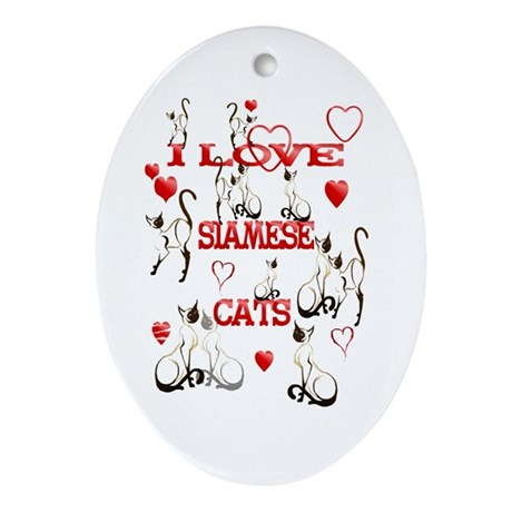I Love Siamese Cats Oval Ornament