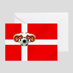 Danish Football Flag Greeting Cards