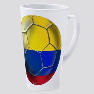 Colombia Soccer Ball 17 Oz Latte Mug