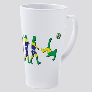 Evolution Of Brazil Football 17 Oz Latte Mug