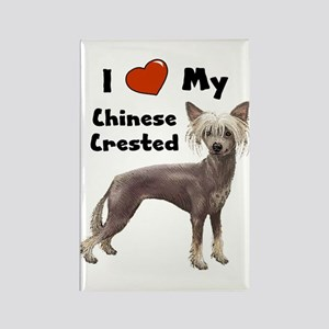 I Love My Chinese Crested Rectangle Magnet