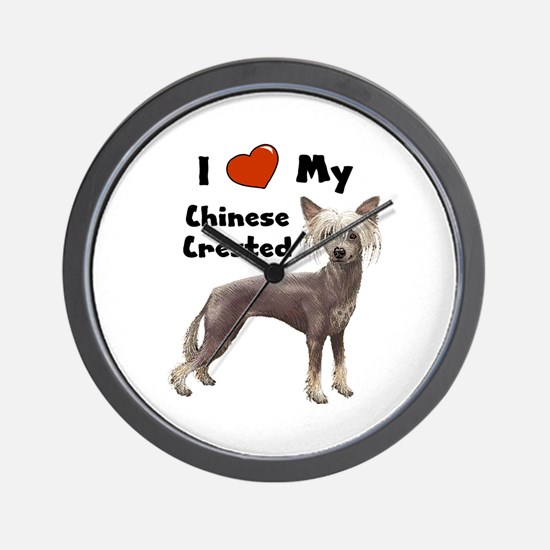 I Love My Chinese Crested Wall Clock
