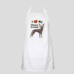 I Love My Chinese Crested BBQ Apron