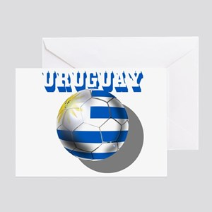 Uruguay Soccer Ball Greeting Cards