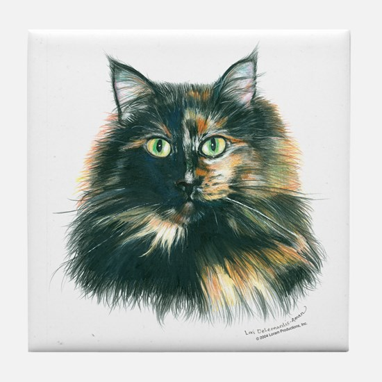 Tortoiseshell Maine Coon Cat Tile Coaster