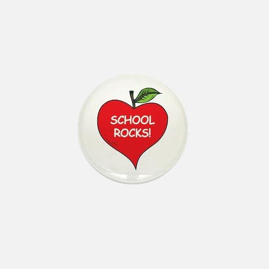 Heart Apple School Rocks Mini Button