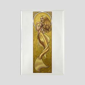 Gold Mermaid Nouveau Rectangle Magnet