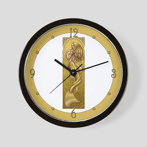 Gold Mermaid Nouveau Wall Clock