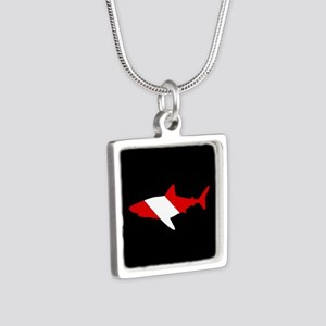 Diving Flag: Shark Silver Square Necklace