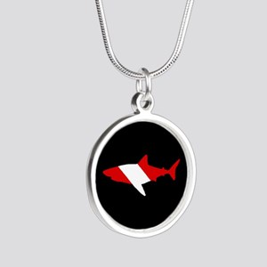 Diving Flag: Shark Silver Round Necklace