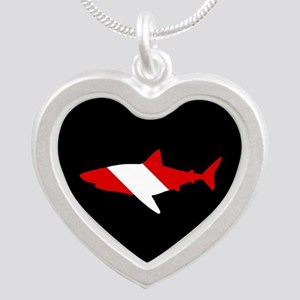 Diving Flag: Shark Silver Heart Necklace