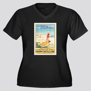 South Africa Surfing Women's Plus Size V-Neck Dark