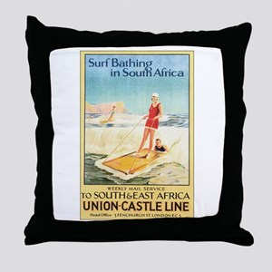 South Africa Surfing Throw Pillow