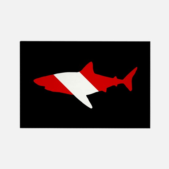 Diving Flag: Shark Rectangle Magnet
