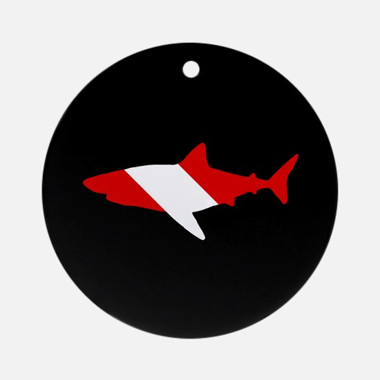 Diving Flag: Shark Round Ornament