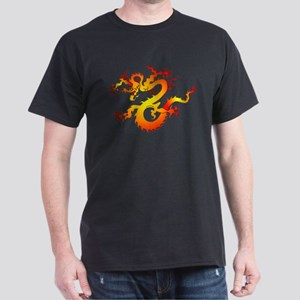 Orange Dragon Tattoo Art (Front) Dark T-Shirt