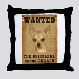 """""""Wanted"""" Chihuahua Throw Pillow"""