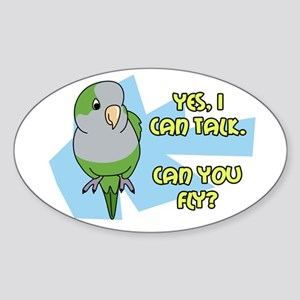 Can You Fly Quaker Parrot Oval Sticker
