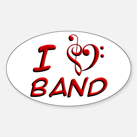 I Love Band Oval Decal