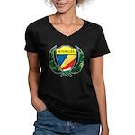 Stylized Seychelles Women's V-Neck Dark T-Shirt