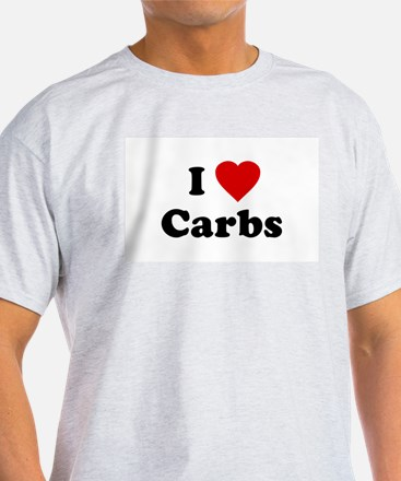 I Love [Heart] Carbs Ash Grey T-Shirt