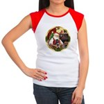 Santa's German Shepherd Pup Women's Cap Sleeve T-S