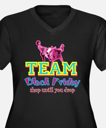 Team Black Friday Women's Plus Size V-Neck Dark T-