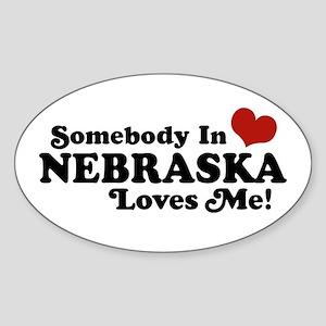 Somebody in Nebraska Loves Me Oval Sticker