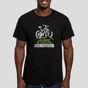 My Bike is Calling Men's Fitted T-Shirt (dark)