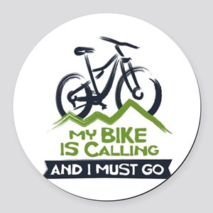My Bike is Calling Round Car Magnet