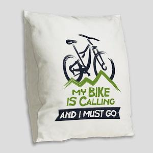 My Bike is Calling Burlap Throw Pillow