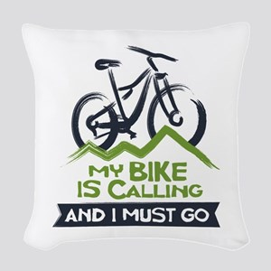 My Bike is Calling Woven Throw Pillow