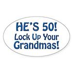 50th Birthday Gifts Oval Sticker (50 pk)