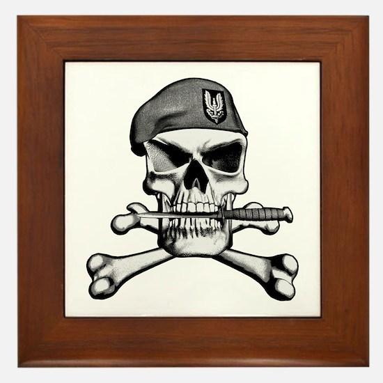 SAS Skull and Bones Framed Tile