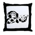 Black chimp Throw Pillow