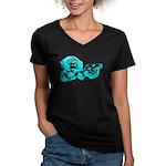 Blue chimp Women's V-Neck Dark T-Shirt