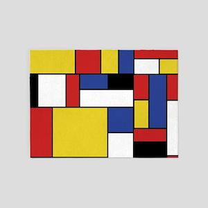 Mondrian Geometric Art 5'x7'Area Rug