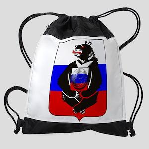 Russian Football Bear Drawstring Bag