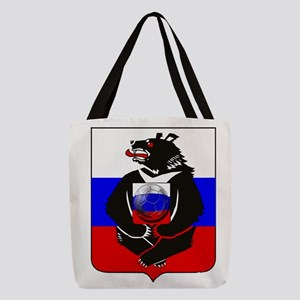 Russian Football Bear Polyester Tote Bag