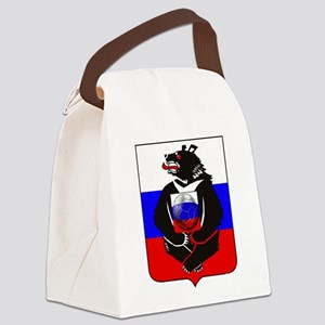 Russian Football Bear Canvas Lunch Bag