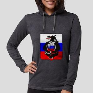 Russian Football Bear Womens Hooded Shirt