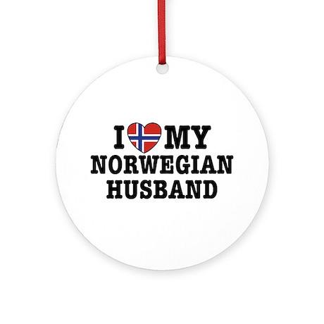 I Love My Norwegian Husband Ornament (Round)