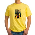 Black Cat Halloween Yellow T-Shirt