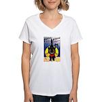 Black Cat Halloween Women's V-Neck T-Shirt
